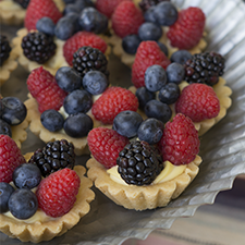 Mini shortbread tarts and pies in a variety of flavors
